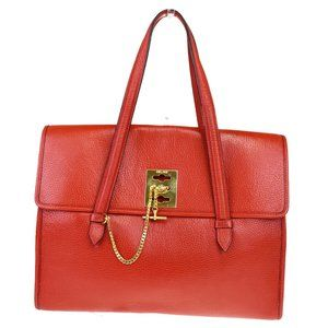 CELINE PARIS Hand Tote Bag Leather Red Gold